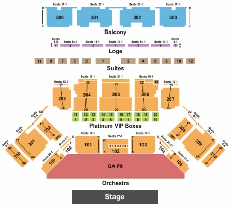 Toyota Oakdale Theatre Seating Chart
